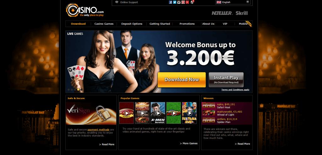 Casino.com homepage