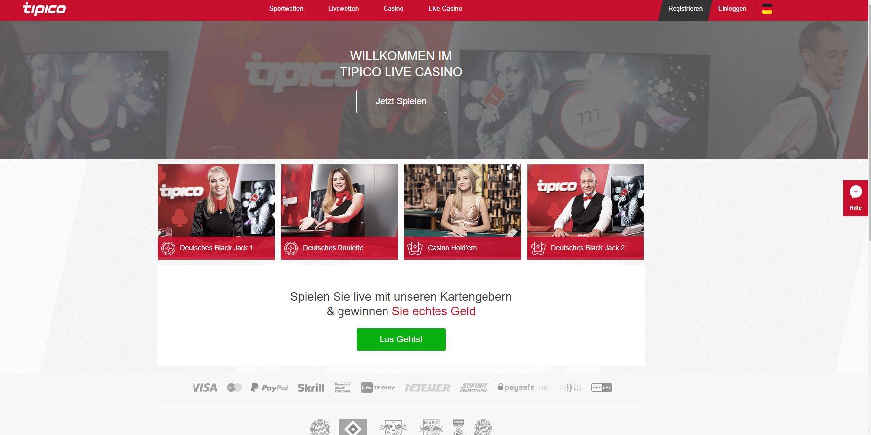 Tipico homepage