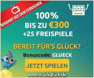Jetzt spielen bei Drückglück und Ihre Ersteinzahlung verdoppeln+25 Freispiele erhalten.